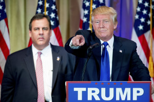 Christie looking uneasy ... or being held hostage  (AP Photo/Andrew Harnik)